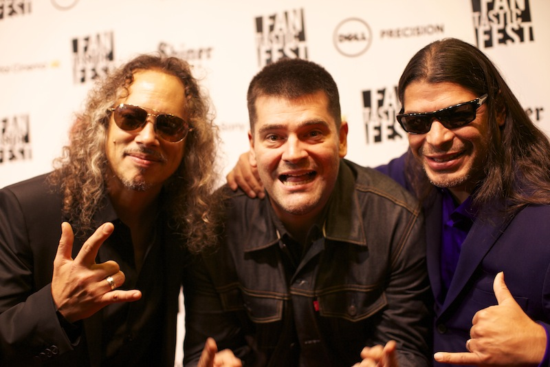 Kirk Hammett (L) Robert Trujillo (R) of Metallica with Director Nimród Antal
