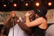 Rachael Ray Planting A Smooch on CeeLo Green at Feedback 2014