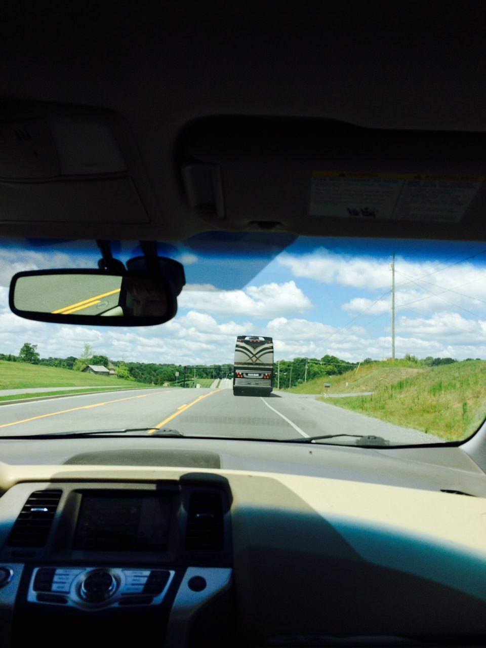 Following a tour bus in Brentwood, Tennessee