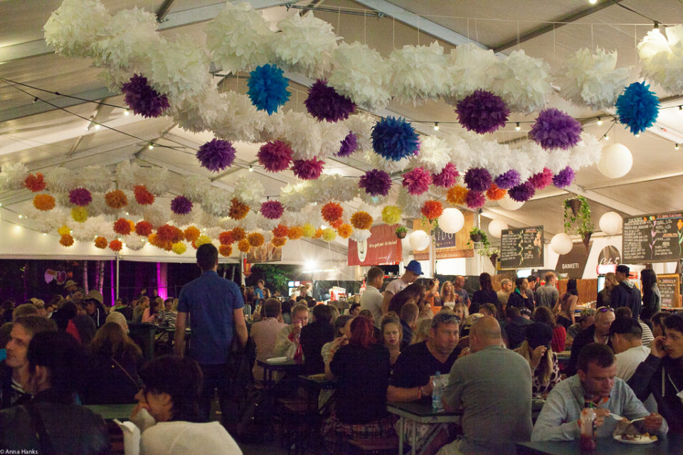 Paper flowers above the food court, Positivus