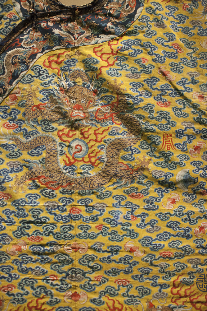 """Yellow brocade detail From """"China Through the Looking Glass"""" at the Metropolitan Museum of Art in NYC, 2015"""