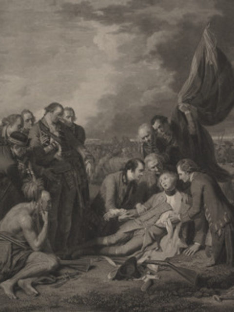 Engraving by Wm. Woollett, 1776, after B. West depicting The death of General Wolfe. Gen James Wolfe, lies mortally wounded on a field, surrounded by soldiers and a Native, during the siege of Quebec in 1759.