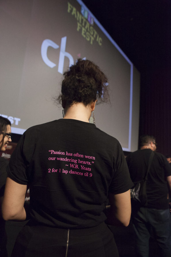 GiDDYUPS shirts at the TOO LATE screening at Fantastic Fest
