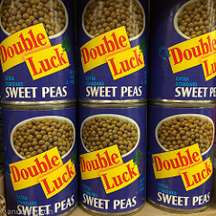 Cans of double luck sweet peans