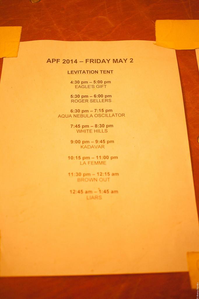 Set Times at Austin Psych Fest