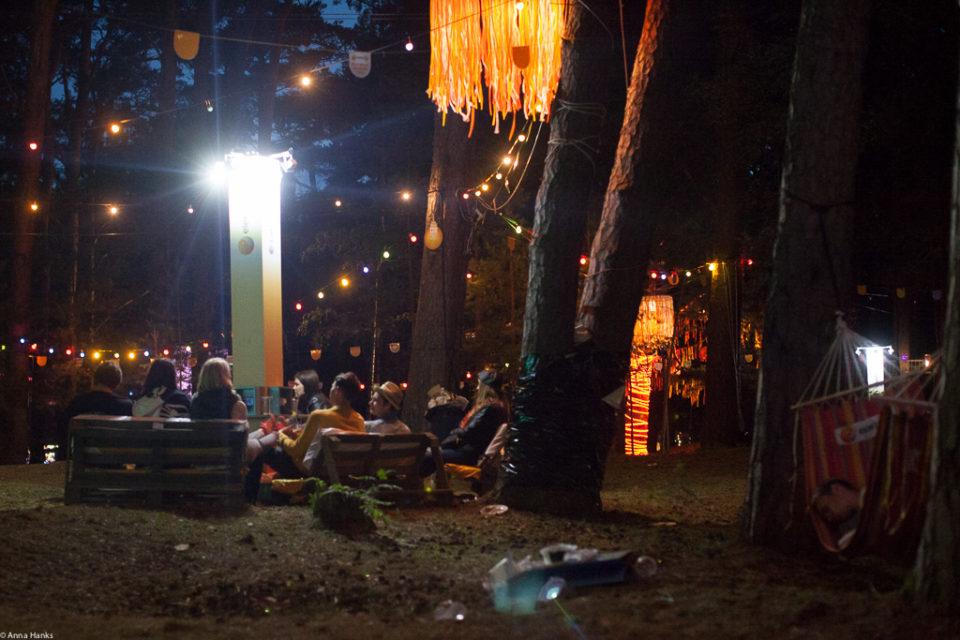 Light garden at night