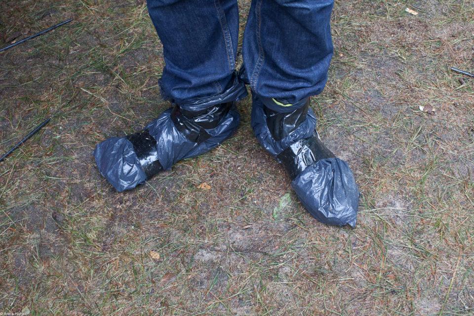 Homemade rain boots at Positivus