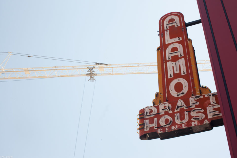 Alamo sign with crane