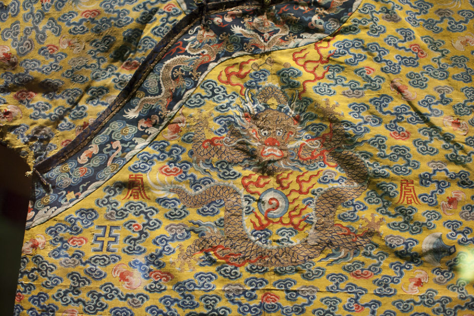 """Vintage fabric details from """"China Through the Looking Glass"""" at the Metropolitan Museum of Art in NYC, 2015"""